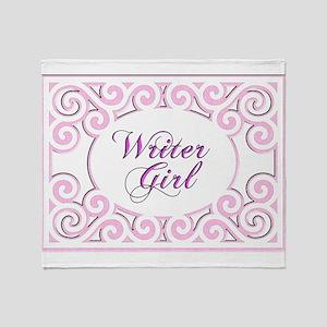 Swirly Writer Girl in pink white Throw Blanket