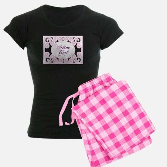 Swirly Writer Girl in pink white Pajamas