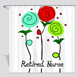 Retired Nurse Floral Shower Curtain