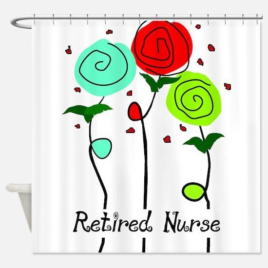 Retired Nurse Floral Shower Curtain
