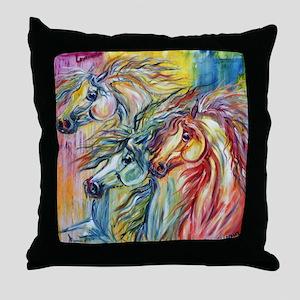 Three Wild horses Throw Pillow