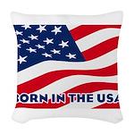 Born in the USA Woven Throw Pillow