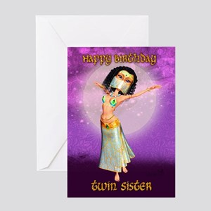 Twin Sister Birthday Greeting Card With Cute Dance