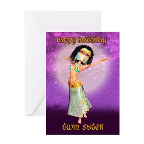 Twin Sister Birthday Greeting Card With Cute Dance By Moonlakedesigns
