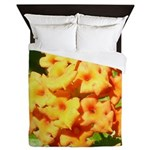 Lantana Orange Explosion Cluster Queen Duvet