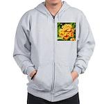 Lantana Orange Explosion Cluster Zip Hoodie