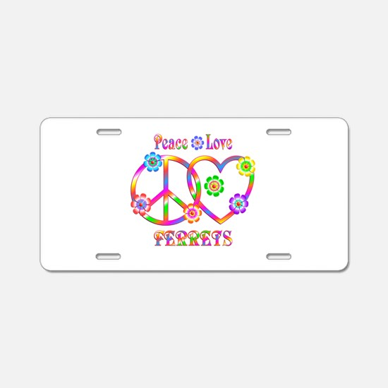 Peace Love Ferrets Aluminum License Plate