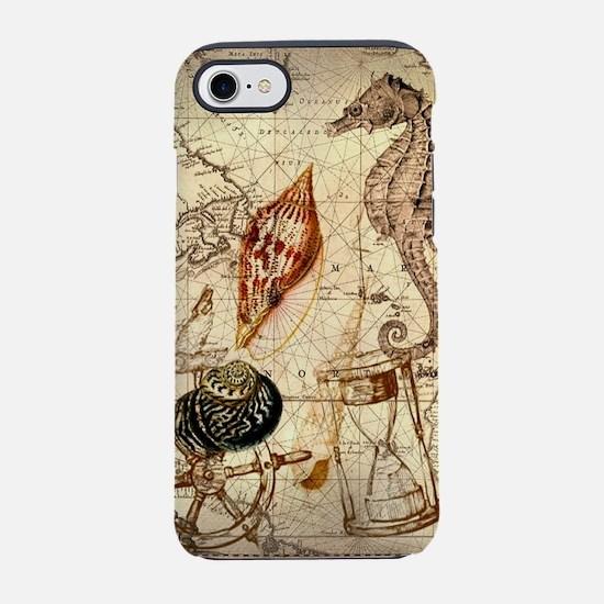 seashells nautical map vintage iPhone 7 Tough Case