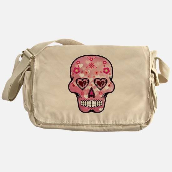 CANDY SKULL-Pink hearts-1 Messenger Bag