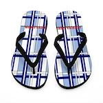 Blue And White Plaid Flip Flops