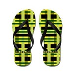 Green And Yellow Plaid Flip Flops