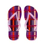 Red And Purple Plaid Flip Flops