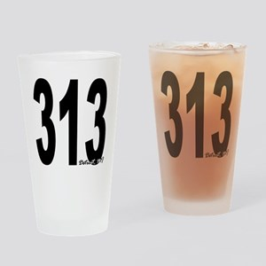 313 Detroit Area Code Drinking Glass