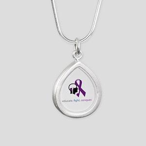 edu.fight.conquer Silver Teardrop Necklace