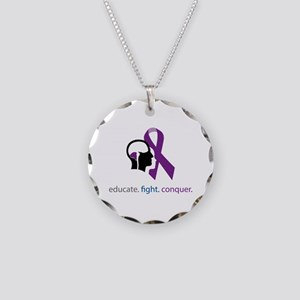 edu.fight.conquer Necklace Circle Charm