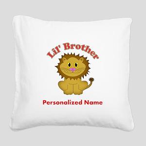 Little Brother Lion Square Canvas Pillow