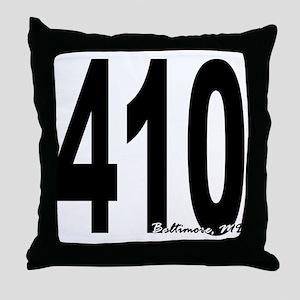 410 Baltimore Area Code Throw Pillow