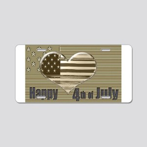 Happy 4th July Heart Flag Aluminum License Plate