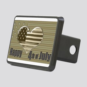Happy 4th July Heart Flag Hitch Cover