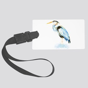 Watercolor Great Blue Heron Bird Luggage Tag