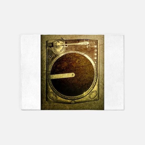 Grunge Dj Turntable 5'x7'Area Rug