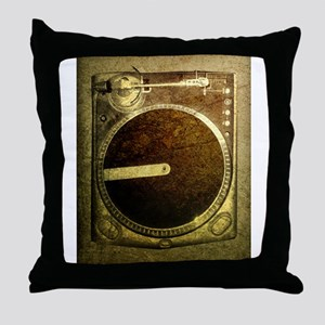 Grunge Dj Turntable Throw Pillow