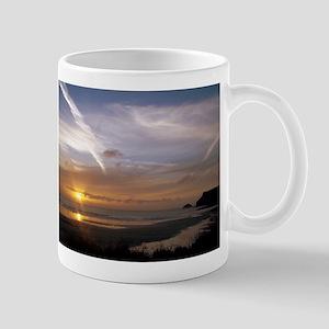 super sonic chemi trails and sun set Mug
