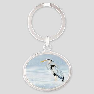 Watercolor Great Blue Heron Bird Keychains
