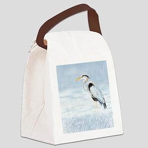Watercolor Great Blue Heron Bird Canvas Lunch Bag