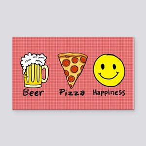 Beer Pizza Happiness Rectangle Car Magnet