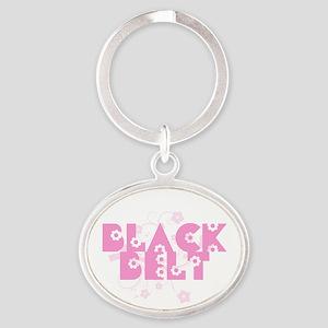 Pink Floral Black Belt Keychains