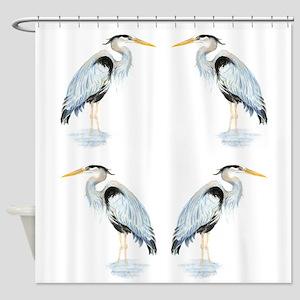 Watercolor Great Blue Heron Bird Shower Curtain