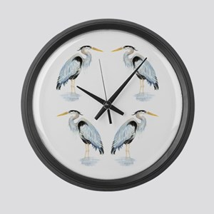 Watercolor Great Blue Heron Bird Large Wall Clock