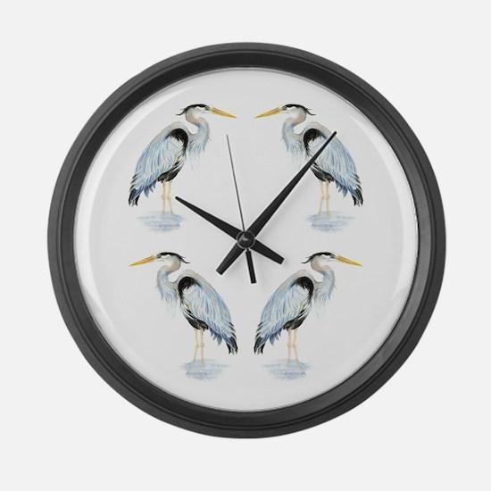 Watercolor Great Blue Heron Bird Large Wall Clock