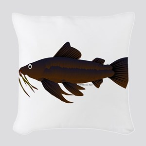 Armored Catfish fish Woven Throw Pillow