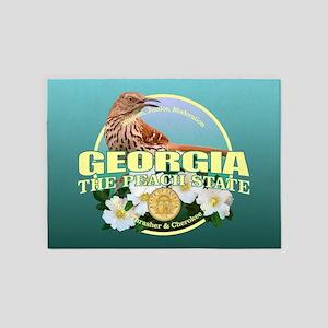 Georgia State Bird & Flower 5'x7'Area Rug