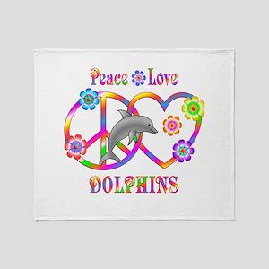 Peace Love Dolphin Throw Blanket