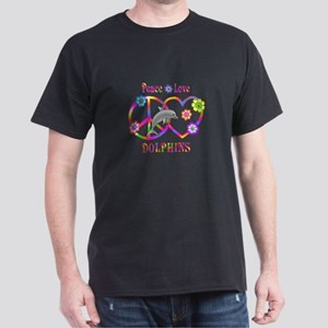 Peace Love Dolphin Dark T-Shirt