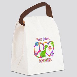 Peace Love Dinosaurs Canvas Lunch Bag