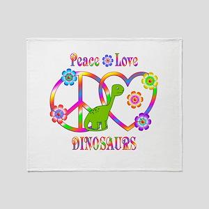 Peace Love Dinosaurs Throw Blanket
