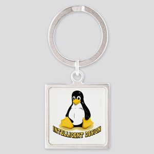Linux Penguin Intelligent Design Square Keychain