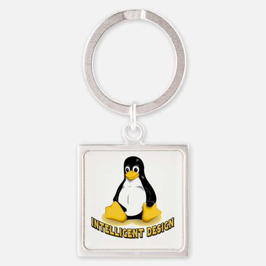 Linux Penguin Intelligent Design Square Keychain