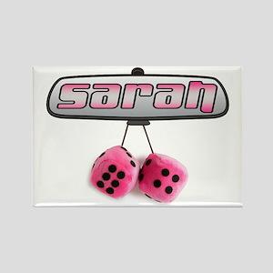 """""""Sarah Pink Fuzzy Dice"""" Rectangle Magnet"""