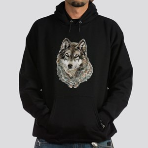 Watercolor Grey, Gray Wolf Animal Painting Hoodie