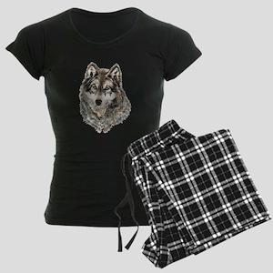 Watercolor Grey, Gray Wolf Animal Painting Pajamas