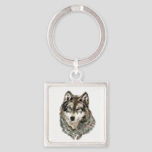 Watercolor Grey, Gray Wolf Animal Painting Keychai