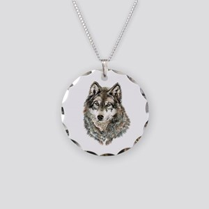 Watercolor Grey, Gray Wolf Animal Painting Necklac