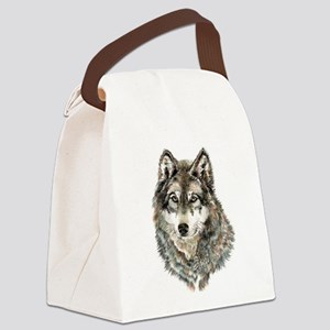 Watercolor Grey, Gray Wolf Animal Painting Canvas