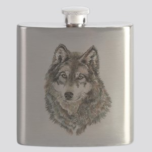 Watercolor Grey, Gray Wolf Animal Painting Flask