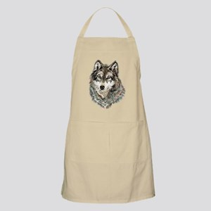 Watercolor Grey, Gray Wolf Animal Painting Apron